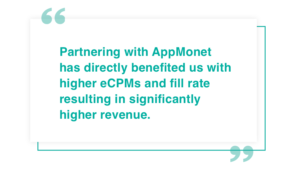 AppMonet Mobile Ad Network Maximize your app ad revenue double your app ad revenue testimonials